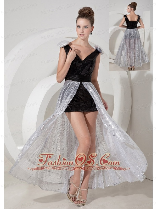 Custom Made Black and Silver Prom Dress V-neck Detachable Sequins ...