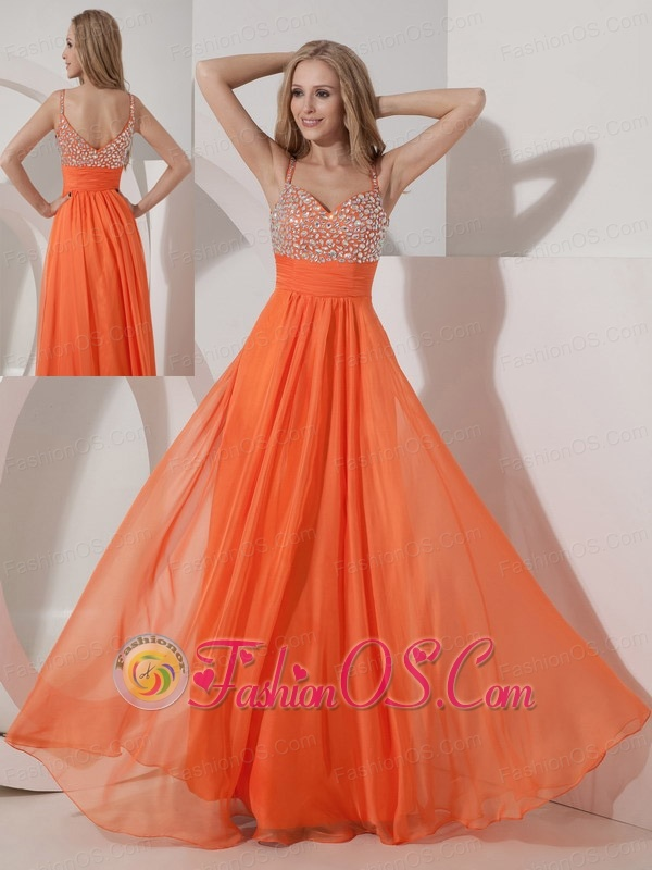 Customize Orange Empire Straps Prom Dress Chiffon Beading Floor-length