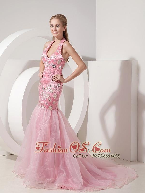 Fashionable Baby Pink Evening Dress Mermaid Halter Organza and ...
