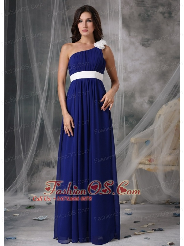 7f958998ee ... Modest Royal Blue and White Empire One Shoulder Prom Dress Chiffon  Handle Flowers Floor-length ...