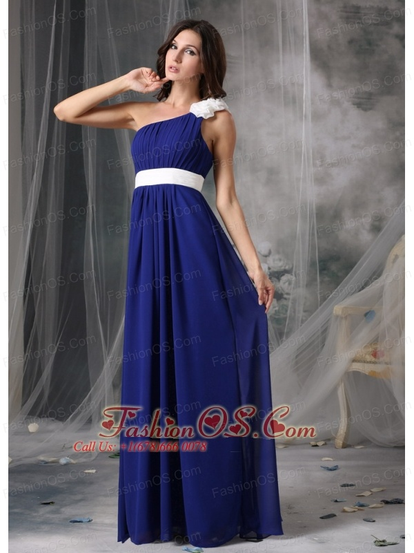 Modest Royal Blue and White Empire One Shoulder Prom Dress Chiffon ...