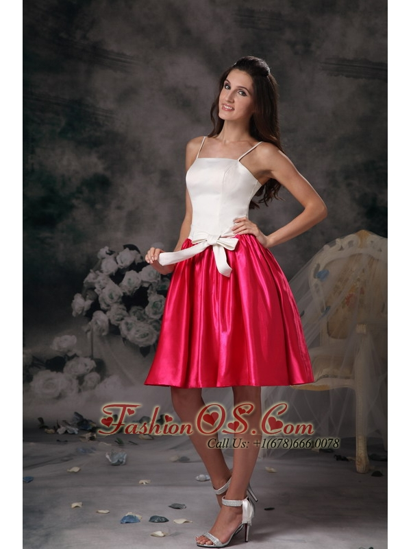 5738360b1 Modest White and Hot Pink Junior Prom Dress Mini-length Taffeta-  92.02