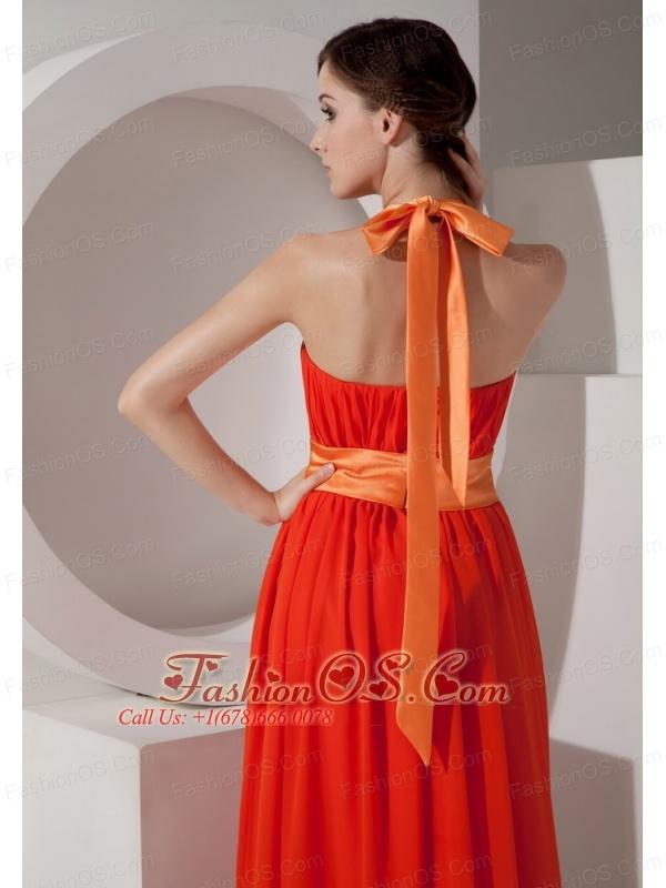 7427d0e564 Orange Halter Chiffon Prom Dress with Sashes   Ribbons