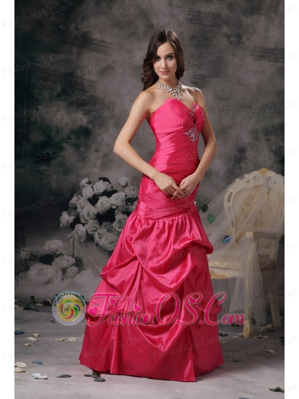 Remarkable Coral Red Column Sweetheart Prom Dress Taffeta Beading Floor-length