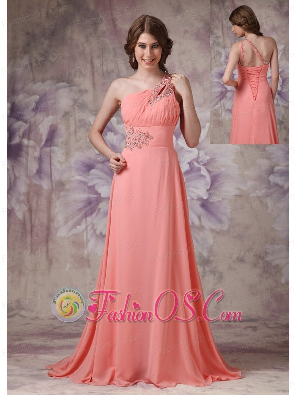 Romantic Watermelon Empire One Shoulder Prom Dress Chiffon Ruch And ...