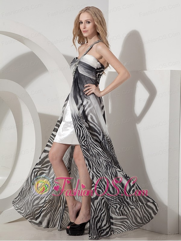 Sexy Colorful Evening Dress Column One Shoulder Printing Beading Floor-length