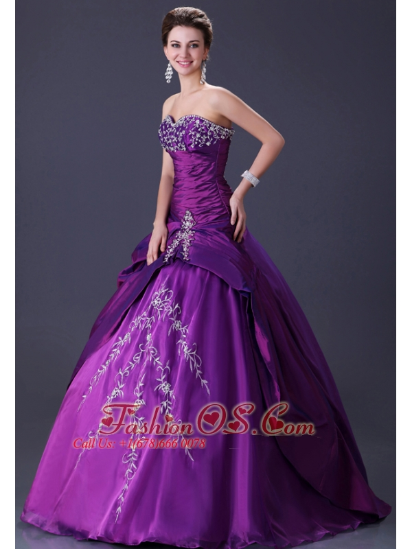 Cheap Cute Purple Color Quinceanera Ball Gown With Silver Embroidery