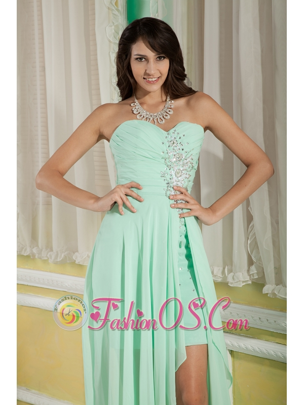 Beautiful Apple Green Empire Sweetheart Prom / Homecoming Dress High-low Chiffon Beading
