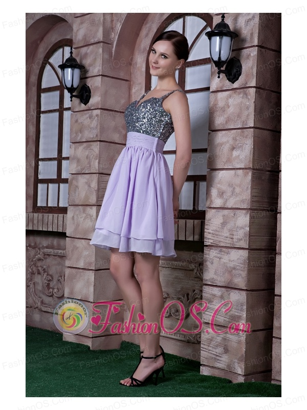 Discount Lilac A-line Spaghetti Straps Cocktail Dress Beading Chiffon Knee-length