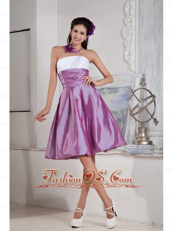 Lavender and White Bridesmaid Dress Under 100 A-line /   Princess Strapless  Taffeta Ruch Knee-length
