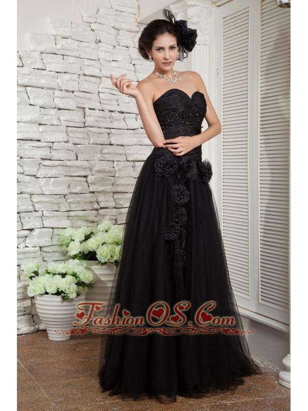 Modest Black Empire Little Black Dress Beading and Hand Made FlowersSweetheart Tulle Floor-length