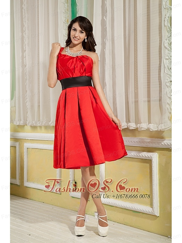 Red Bridesmaid Dress Under 100 A-line / Princess One Shoulder Satin ...
