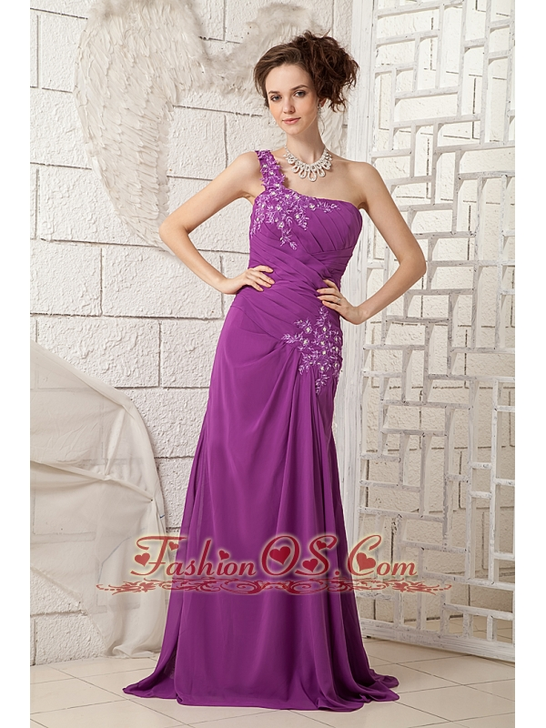 2013 Bright Purple Mother Of The Bride Dress Column One Shoulder Chiffon Appliques Brush Train