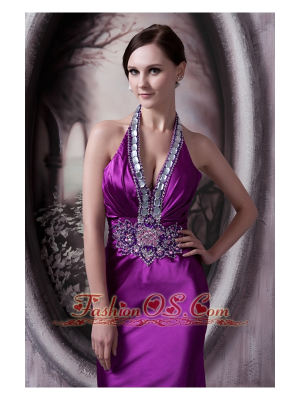 Affordable Eggplant Purple Evening Dress Column Halter Silk Like Satin Beading and Appliques Brush Train