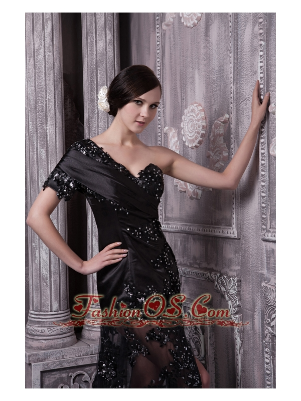 Black Mother Of The Bride Dress For 2013 Column One Shoulder Brush Train Lace Beading