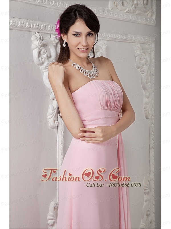 Cheap Baby Pink Bridesmaid Dress Empire Strapless Chiffon Beading Floor-length
