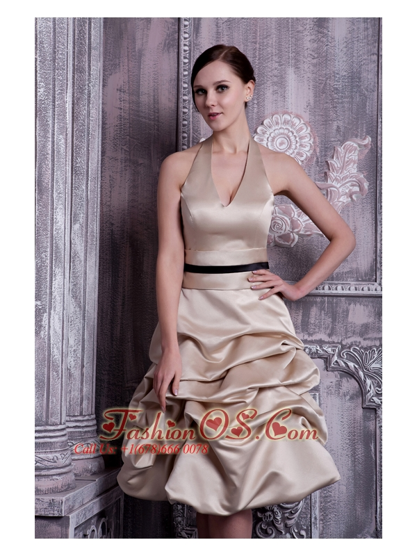 Cheap Champagne Bridesmaid Dress A-line Halter Taffeta Pick-ups Knee-length