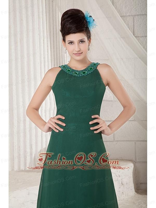 Cheap Dark Green Mother Of The Bride Dress Empire Scoop Floor-length Chiffon Beading