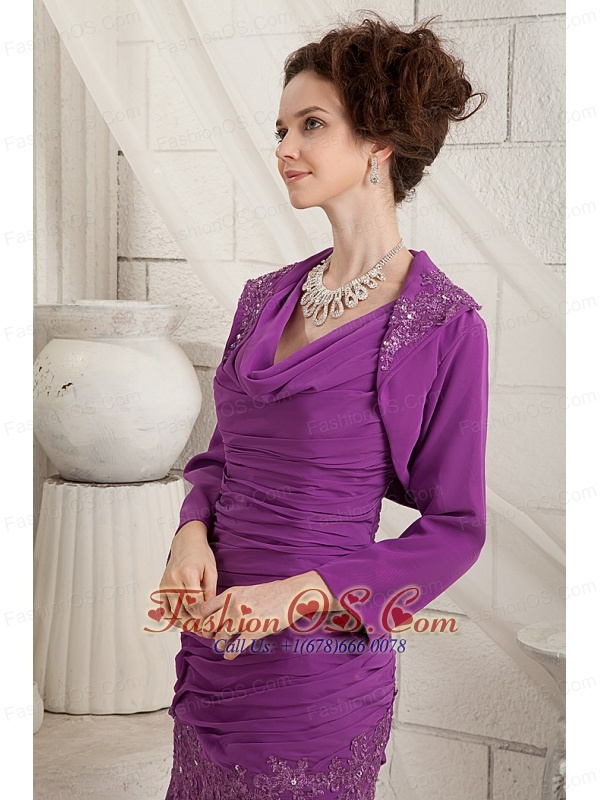 Cheap Eggplant Purple Mother Of The Bride Dress Column V-neck Knee-length Chiffon Appliques
