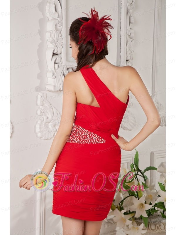Customize Red Column One Shoulder Cocktail Dress Chiffon Beading Mini-length