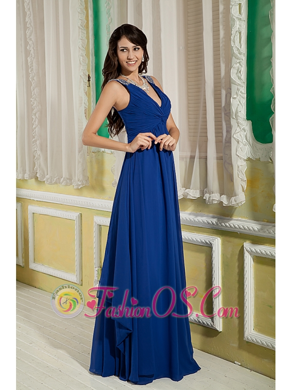 Discount Peacock Blue Bridesmaid Dress Empire V-neck Floor-length Chiffon Beading and Ruch