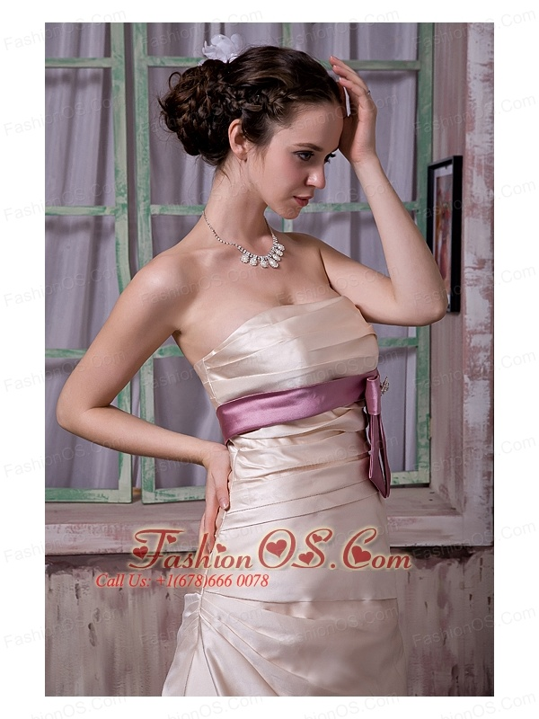 Elegant Champagne Bridesmaid Dress A-line / Princess Strapless  Belt and Beading Satin Brush Train