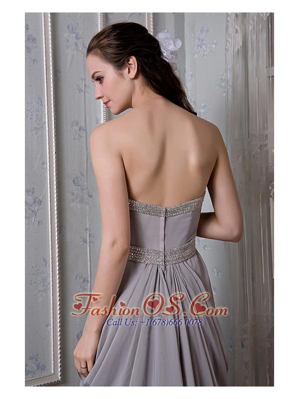 Exclusive Grey Empire Prom Dress Sweetheart  Beading Brush Train Chiffon