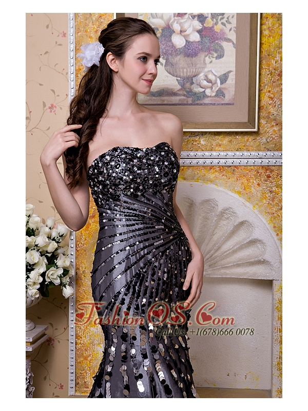 Exquisite Black Column Strapless Evening Dress Taffeta Sequins Floor-length