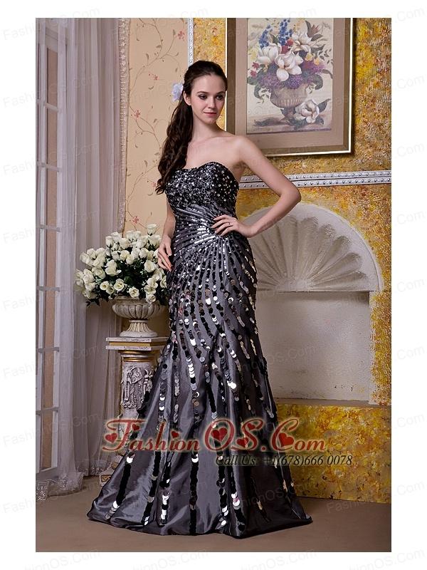 Exquisite Black Column Strapless Evening Dress Taffeta Sequins Floor-length