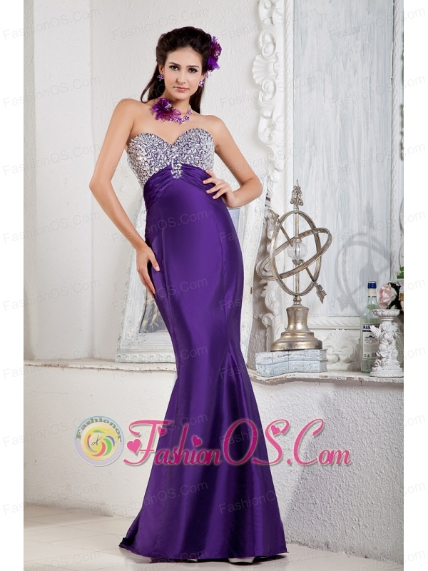 Floor-length Purple Mermaid Sweetheart Evening Dress Satin Beading ...