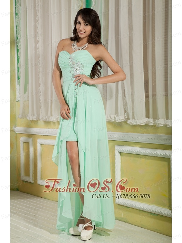 Lovely Apple Green Empire Sweetheart Prom Dress High-low Chiffon Beading