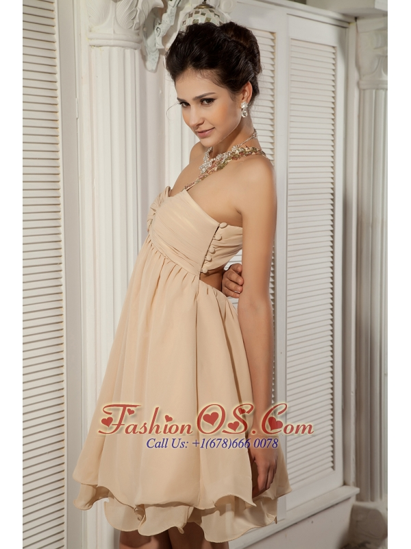 Lovely Champagne Empire Sweetheart Cocktail Dress Chiffon Appliques Cocktail Dress Mini-length
