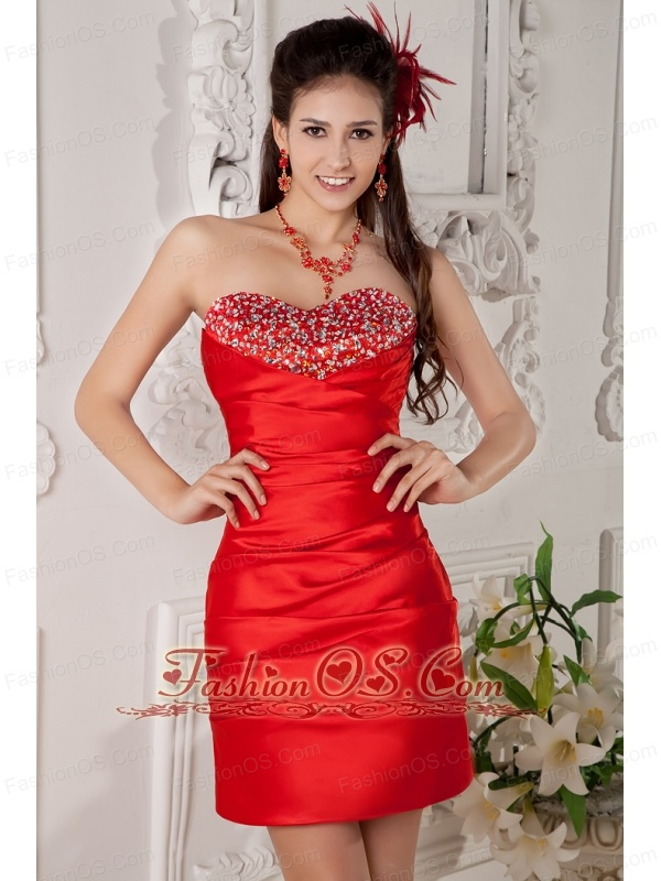 Low Price Red Column Sweetheart Cocktail Dress Satin Beading Mini-length