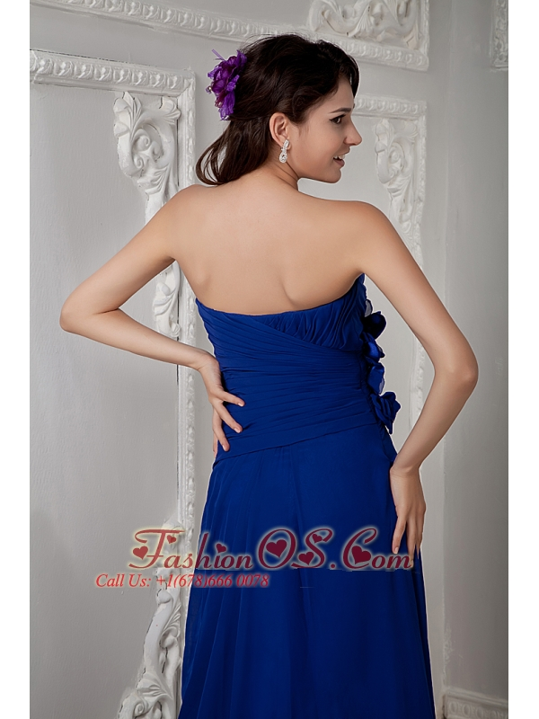 Luxurious Royal Blue Prom Dress Empire Sweetheart Beading Brush Train Chiffon