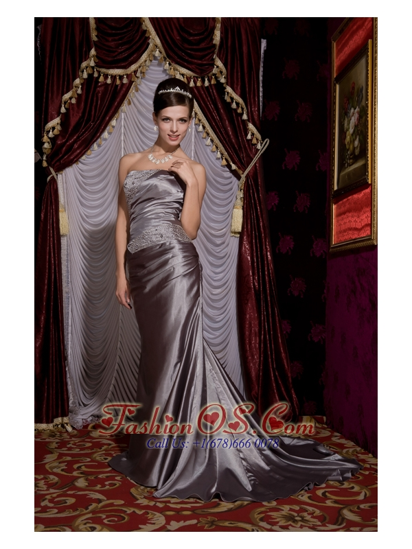 Modest Grey Column Strapless Prom / Evening Dress Elastic Woven Satin Beading Brush Train