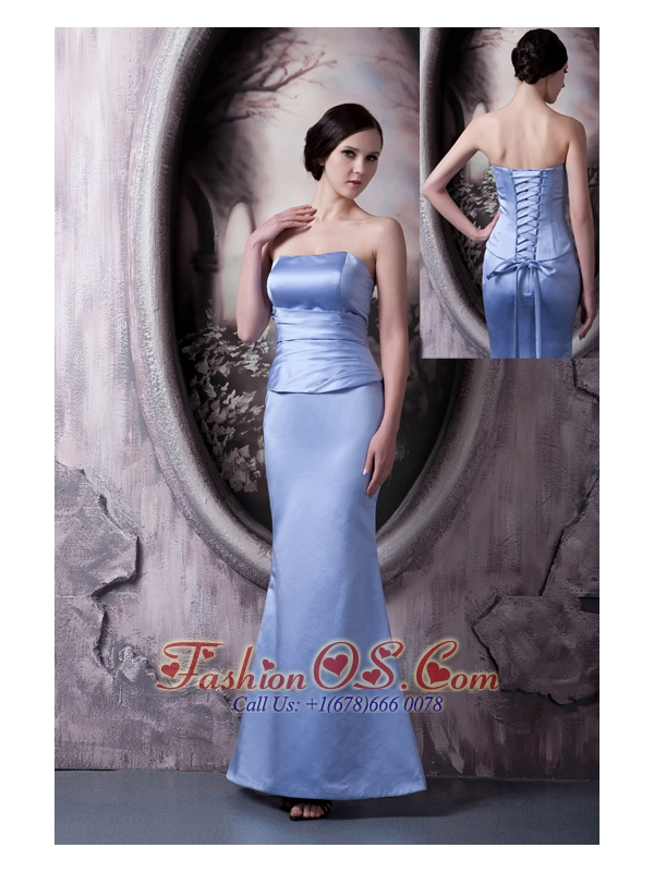 Modest Lilac Mother Of The Bride Dress Mermaid Strapless Satin Ruch Ankle-length