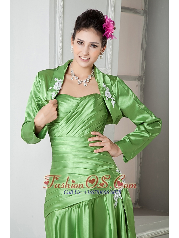 Modest Spring Green Mother Of The Bride Dress A-line Sweetheart Elastic Woven Satin Appliques Ankle-length