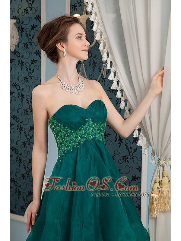 New Dark Green A-line Sweetheart Cocktail Dress Organza Appliques ...