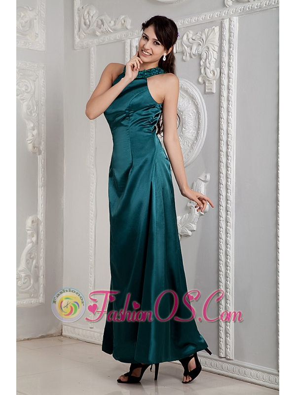 Peacock Green Mother Of The Bride Dress For Custom Made Empire Scoop Ankle-length Taffeta Beading
