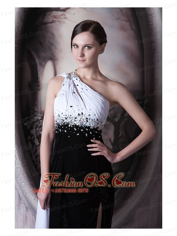 Popular White and Black Evening Dress One Shoulder Beading Chiffon and Elastic Woven Satin Brush Train