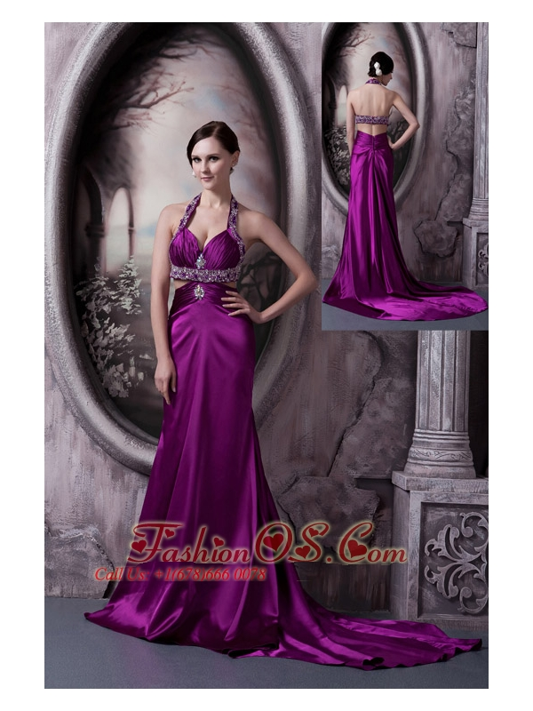 Pretty Eggplant Purple Column Halter Prom Dress Silk Like Satin Beading Court Train
