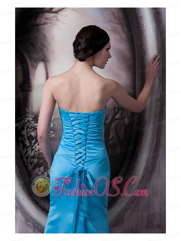 Simple Aqua Blue Bridesmaid Dress Column Strapless Elastic Woven Satin Brush Train