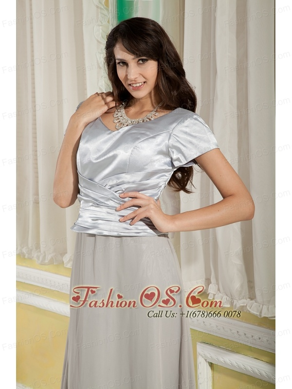 Simple Grey Mother Of The Bride Dress Empire Scoop Floor-length Chiffon and Satin Ruch