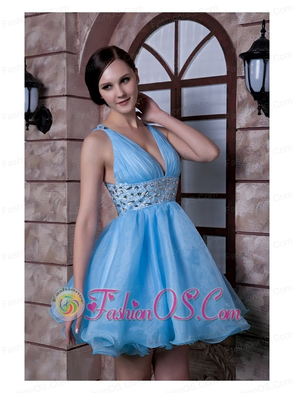 Sweet Aqua Blue A-line V-neck Prom / Homecoming Dress Organza Beading Mini-length