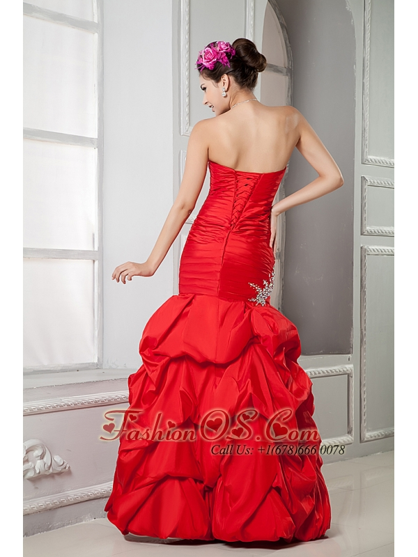 Sweet Red Mermaid Prom Dress Sweetheart Beading Floor-length Taffeta