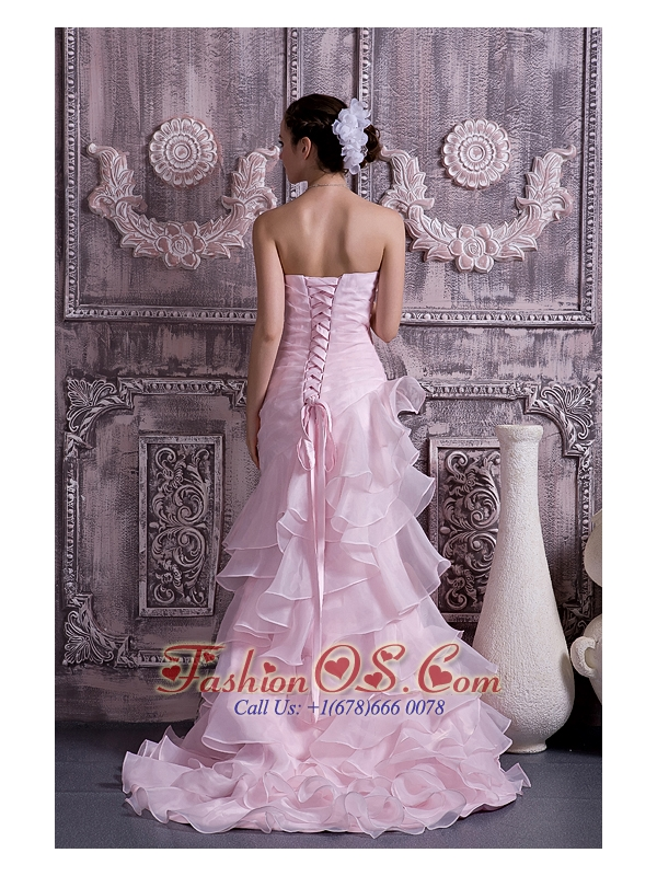 2013 Baby Pink Prom Dress Column Sweetheart Brush Train Ruch and Beading Organza