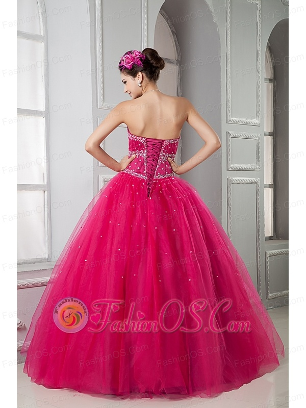 2013 Hot Pink Sweet 16 Dress Ball Gown Sweetheart Tulle Beading Floor-length