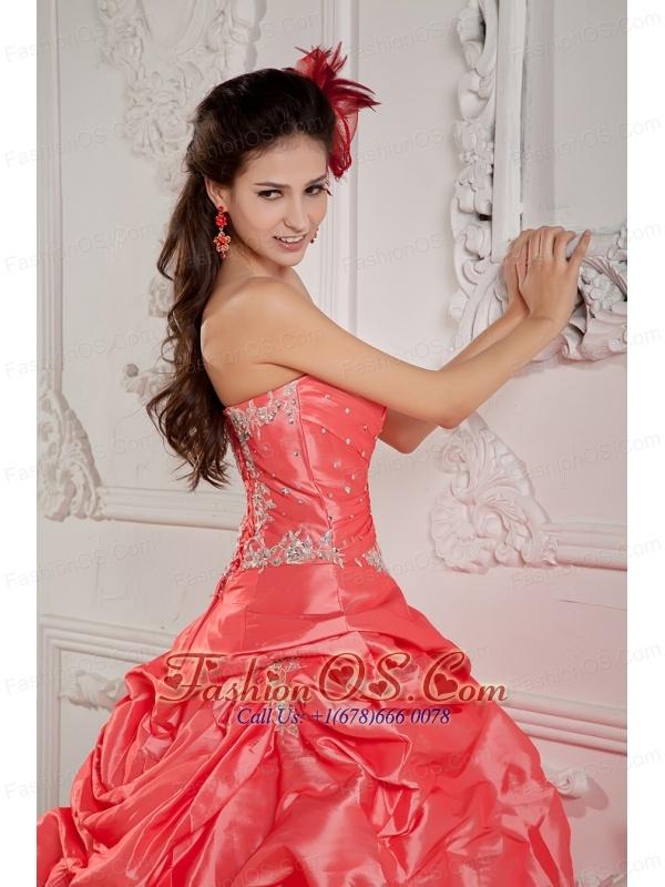 2013 Watermelon Red Sweet 16 Dress Ball Gown Strapless  Taffeta Beading Floor-length