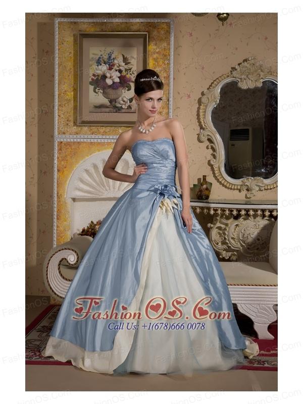 Beautiful Light Blue And Light Yellow Ball Gown Quinceanera Dress ...