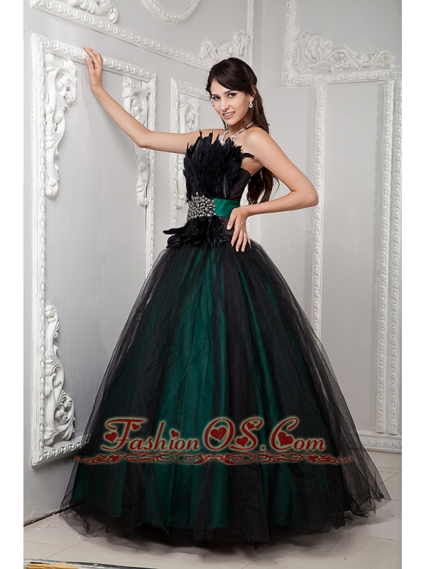 Black and Green Ball Gown Cute Quinceanera Dress Strapless Tulle Beading and Feather Floor-length